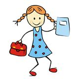 Girl with satchel and exercise book Royalty Free Stock Images