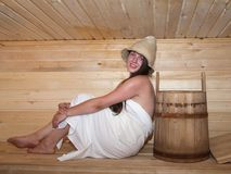 Girl in sauna Stock Photography