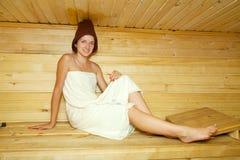 Girl  in a sauna Stock Image