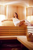 Girl in the sauna Stock Photo