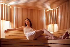 Girl in sauna Royalty Free Stock Photo