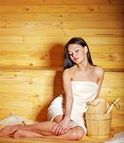 Girl in sauna. Stock Images