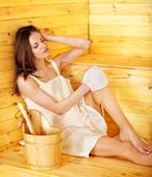 Girl in sauna. Stock Photography
