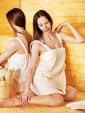 Girl in sauna. Stock Images