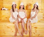 Girl in sauna. Stock Image