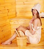 Girl in sauna. Royalty Free Stock Photos