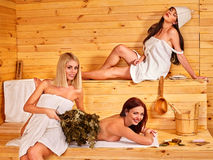 Girl in sauna Stock Photos