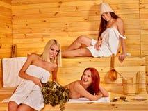 Girl in sauna Stock Images