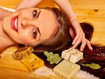Girl in sauna Royalty Free Stock Image