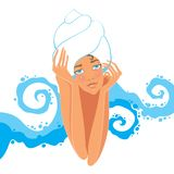 Girl in the sauna Royalty Free Stock Photos
