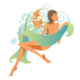 Girl in the sauna. Stylized illustration of girl in the sauna Royalty Free Stock Photos