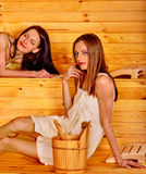 Girl in sauna Royalty Free Stock Photos