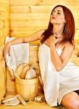 Girl in sauna. Royalty Free Stock Photo