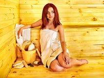 Girl in sauna. Stock Photography