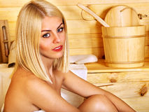 Girl in sauna. Royalty Free Stock Photography