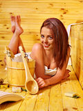 Girl in sauna. Royalty Free Stock Image