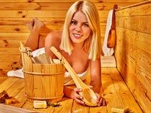 Girl in sauna Royalty Free Stock Photo