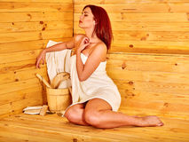 Girl in sauna Royalty Free Stock Images
