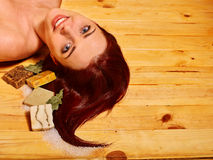 Girl in sauna Stock Photography
