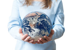 Girl save Earth Environment Recycle royalty free stock photo