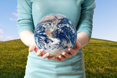 Girl save Earth Environment Recycle Stock Photography