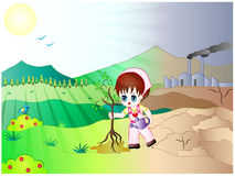 Girl saving earth by planting tree. Vector Illustration of a Cartoon Girl Planting Tree to stop Climate Change vector illustration