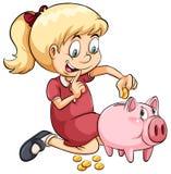 A girl saving her coins Stock Photography