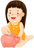 Girl saving money Royalty Free Stock Images