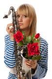 Girl with sax Stock Photos