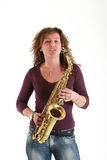 Girl with sax Royalty Free Stock Image