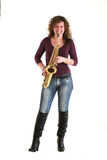 Girl with sax Stock Photo