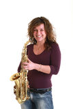 Girl with sax Stock Photography