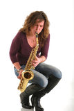 Girl with sax Royalty Free Stock Photo