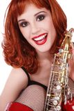 Girl with sax Royalty Free Stock Photography