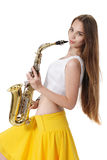 Girl with a sax musical instrument Stock Images