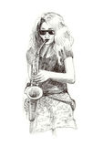 Girl with saxophone Stock Photo