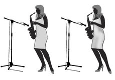 Girl_saxophonist silhouette Royalty Free Stock Photography