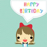 Girl say happy birthday. Cheerful girl on white dot with blue background and colorful word happy birthday Royalty Free Stock Images