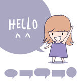 Girl say hello. Girl standing and say hello Royalty Free Stock Photo