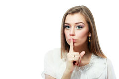 Girl saying shh Royalty Free Stock Images