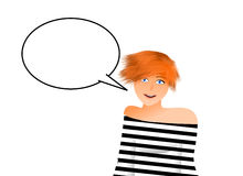 Girl saying something Stock Images
