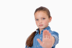 Girl saying stop with her hand Stock Photo