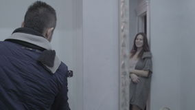 Girl says goodbye to boyfriend stock video