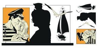 Girl says goodbye to sailor. Stock Image