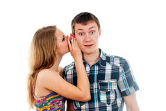 Girl says a guy Royalty Free Stock Photo
