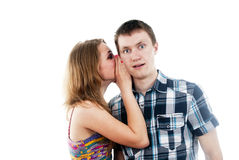 Girl says a guy whispers in your ear Royalty Free Stock Images
