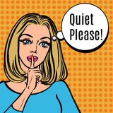 Girl says Quiet Please! Vector retro woman with silence sign. Pop art comics style illustration. Girl asking for silence putting her forefinger to her lips for royalty free illustration