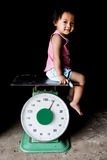 Girl on scales Royalty Free Stock Photos