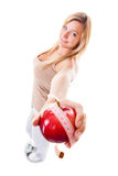 Girl on scales celebrating weightloss Royalty Free Stock Images