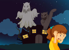 Girl scared of haunted house with ghosts Stock Photography